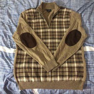 Men's Joe Joseph Abboud Tan Quarter Zip Sweater